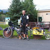 Riding the Tour Divide route, Brent Schmeling stops at RedRock RV Park for refreshments. Brent is from Seymour, Wisconson. Aug 12, 2010.