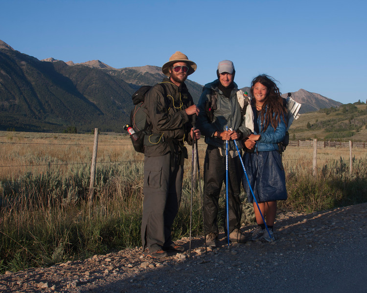 Hikers on the Tour Divide. The only name I remember is Ms. Thomas, from Sacramento, CA. The guy on the left is from San Francisco and the middle man is from Maine. They are hoping to do the hiking trip from Canada to Mexico border in 5 months. They began in June in Canada.  August 18, 2010.