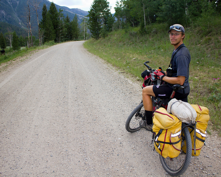Kyle Karlson, 25, is heading north on the Great Divide Bicycle Route. Here he is climbing Red Rock Road to the Continental Divide (Montana/Idaho border). He just graduated from Georgia Tech with his Masters in Mechanical Engineering. He is riding for Pancreatic Cancer Action Network (PanCAN). Pancreatic Cancer killed his young father. July 13, 2012