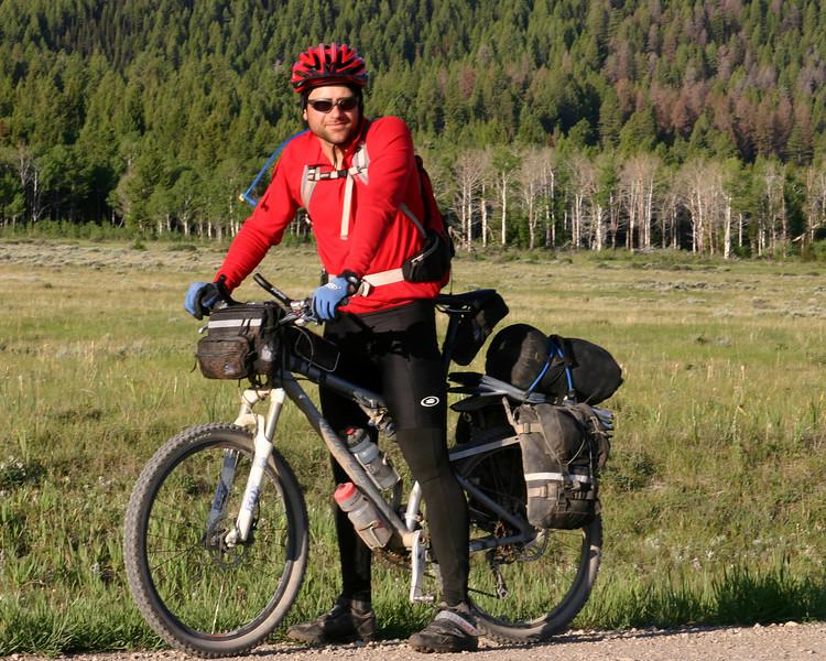 John Billman, June 22, 2007. He's in the Tour Divide Race, the world's longest non-stop mountain bike race along the Great Divide Mountain Bike Route!  This was taken in Montana, along Red Rock Road.