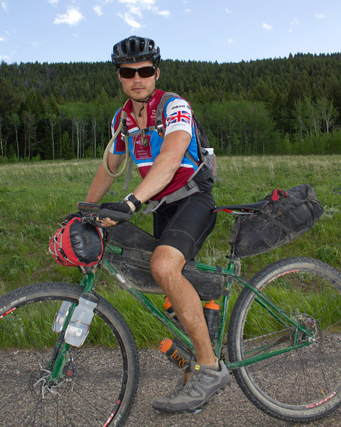 Jon Cox of Wivenhoe, England along Red Rock Road during the Tour Divide Race on June 17, 2012, near Island Park, Idaho at mile 1009.