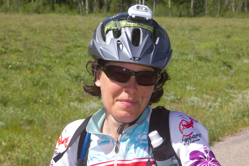 Michelle Dulieu of Rochester, NY is bringing up the rear, almost. One more behind her, but she's still determined to finish the Tour Divide bicycle race! June 22nd, 2012.