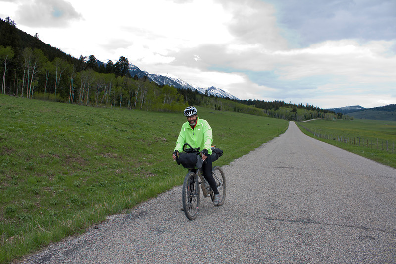 John Richardson on Red Rock Road in Island Park, across from RedRock RV Park with Centennial Mountains as a backdrop. John is participating in the 2011 Tour Divide Mountain Bike Race on June 17, 2011. John is from Kirksville, Missouri.