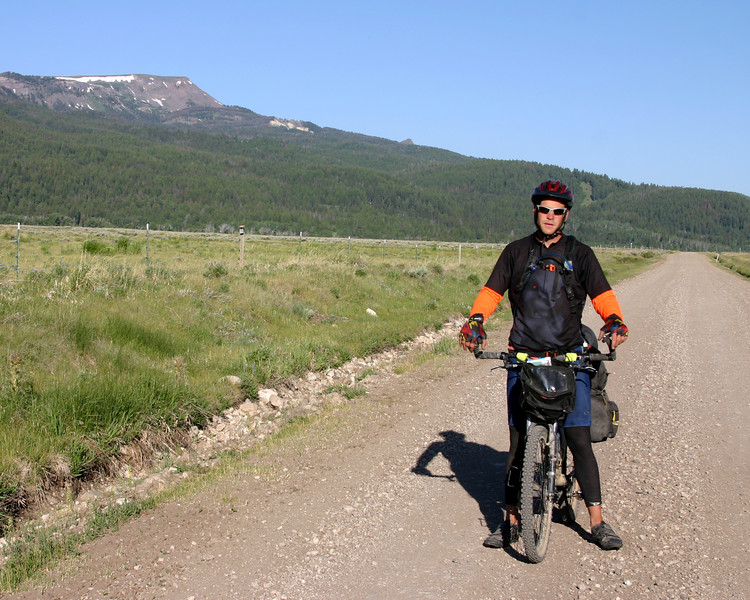 This is Nathan Bay. He's along Red Rock road in Montana on June 22, 2007.  This was taken in the Red Rock Lakes National Wildlife Refuge. He is taking part in the Tour Divide Race, the world's longest non-stop mountain bike race!