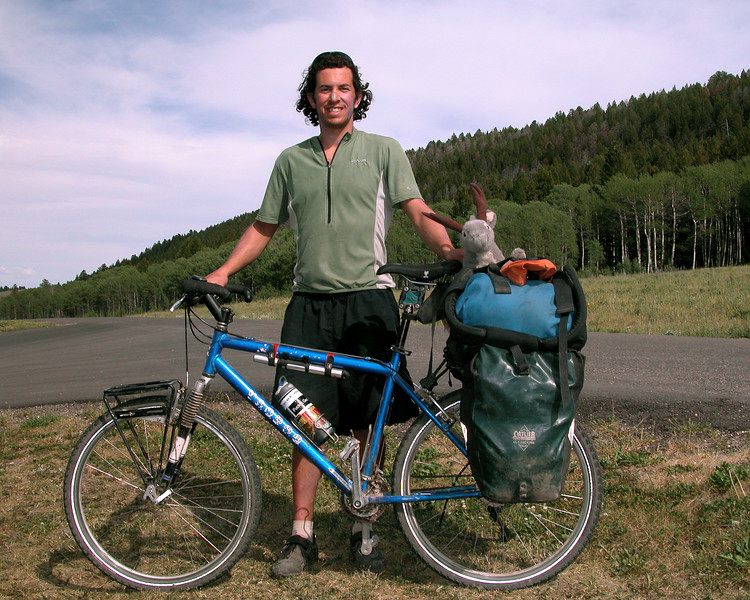 """Jon Pierson, participating in the Tour Divide Race along the Great Divide Mountain Bike Route from Mexico to Banff, Canada. Started May 18, 2007, expecting to arrive in Banff, mid July. He's from North Arizona University. Riding for the Yoder Foundation.  <a href=""""http://www.yoderfoundation.org"""">http://www.yoderfoundation.org</a>). Good Luck Jon, (and quit that bad habit you have.)"""