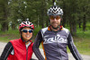 Caroline Soong and Kurt Refsnider, on their Tandom Bike along the Tour Divide Bicycle Race route on Red Rock Road near Island Park, Idaho. June 15, 2012.