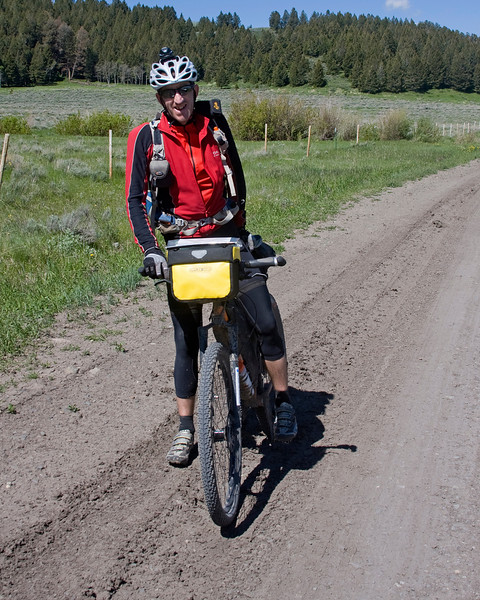 Alan Goldsmith from Kendal, United Kingdom, pauses along his 2745 mile Tour Divide bicycle trip from Banff, Canada to Antelope Springs, New Mexico on the Mexican border in Red Rock Lakes National Wildlife Refuge, June 19, 2009.