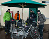 From left, Sean Putman, Chris Culos, Kevin Campagna and Ryan Sigsbey.spent a night at RedRock RV Park in Island Park, Idaho after 7 days on the Tour Divide Bicycle Race. They are roughly 31-34 in position today. They started out in the rain this morning. June 22, 2013.