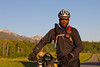 Prentiss Campbell of New York City, NY along the Tour Divide route near Island Park, Idaho on the early morning of June 18, 2012.