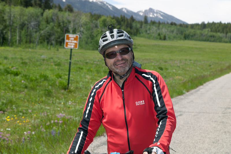 Thomas Borst, Germany on Red Rock Road (near Island Park, Idaho) on his Tour Divide Bicycle race on June 23, 2013.