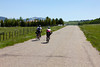 Elena Massarenti and Marco Costa from Italy on Red Rock Road in Island Park, Idaho on their way to Mexico from Banff, AB, Canada in the Tour Divide Bicycle Race on June 18, 2012.