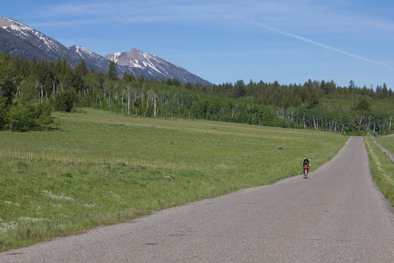 Georg Deck (Heidelberg, Germany) riding east along Red Rock Road at the 1008th mile of his 2720 mile trek between Banff and Mexican border in the Tour Divide Bicycle race. June 16, 2012.