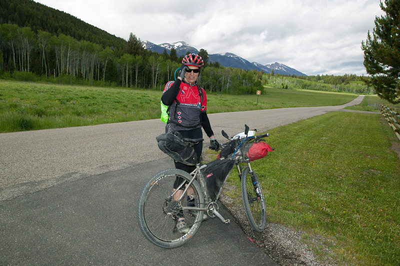 Greg Thompson on the Tour Divide Bicycle Route in front of RedRock RV Park in Island Park, Idaho on June 23, 2013.