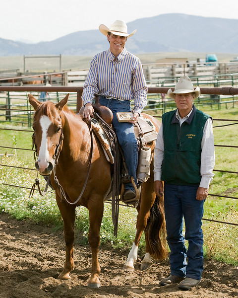 Dennis Moedl poses with a winner at the Cow Cutting contest at his Meadow Vue Ranch, Island Park, Idaho, near Henry's Lake. Sept 2009