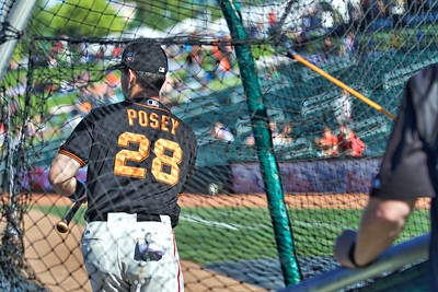 Buster Posey taking batting practice at Raley Field