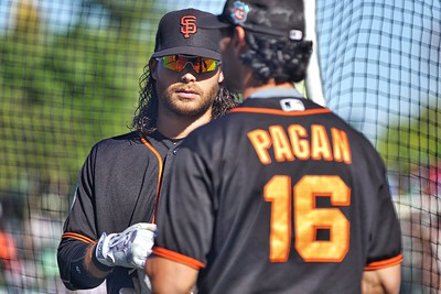 Brandon Crawford and Angel Pagan