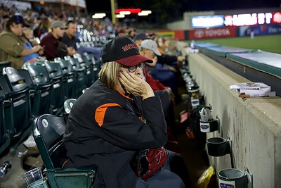 "River Cats' ""Team Mom"" Carole Walte watches the team drop its final game of the 2018 season from the seat she's had since the first game in 2000."