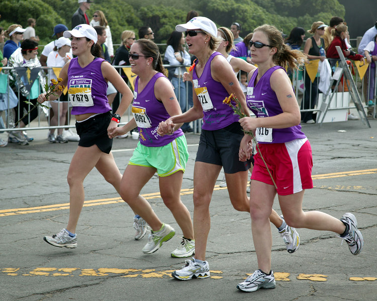 Friends in Pain: Close to Finish at the Women's Nike Marathon on October 22, 2006, San Francisco