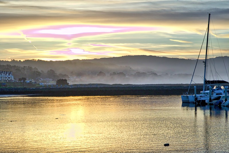 Sunrise over Pillar Point Harbor