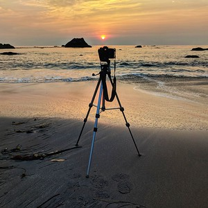 Camera Set-up at Sunset, Harris Beach State Park, Oregon