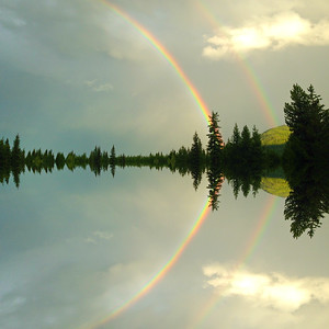 Mirrored Double Rainbow, Glacier NP, Square Image