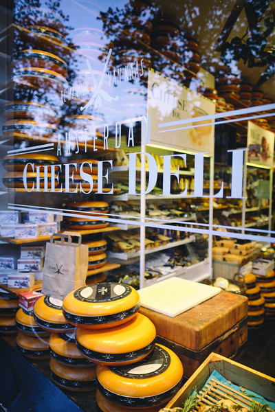 Whole Wheel of Dutch Chesses in a Store Display, Amsterdam, Netherlands