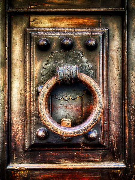 Close Up View of an Antique Renaissance  Door Knocker, Florence, Tuscany, Italy