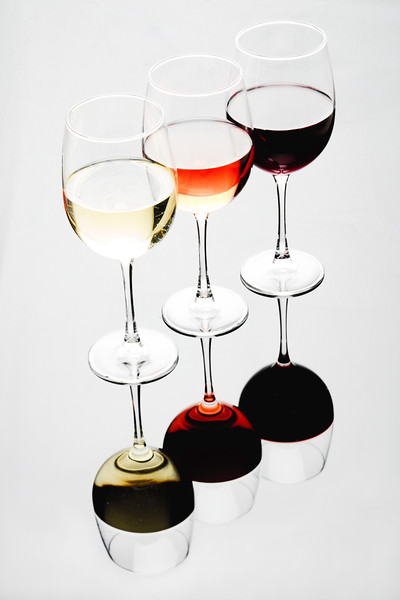 Three Glasses of Wine, White, Rose and Red
