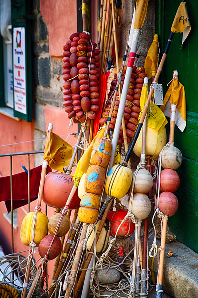Close Up View of Colorful Fishing Bouys Stored on the Street, Vernazza, Cinque Terre, Liguria, Italy