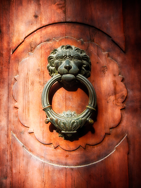 Close Up View of aLion Faced Door Knocker, Florence, Tuscany, Italy