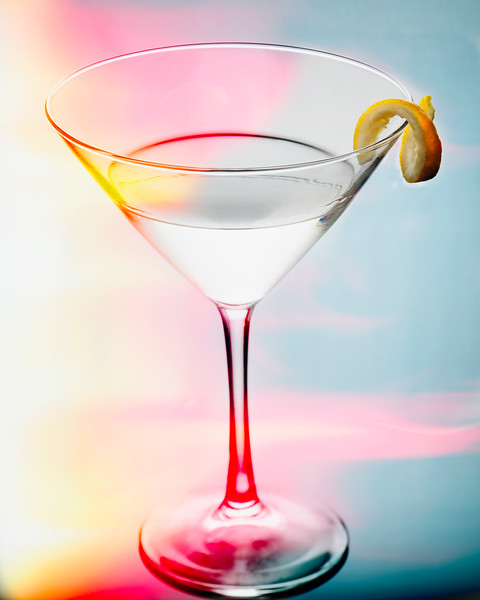 Glass of Martini with a Twist with Smooth Colors