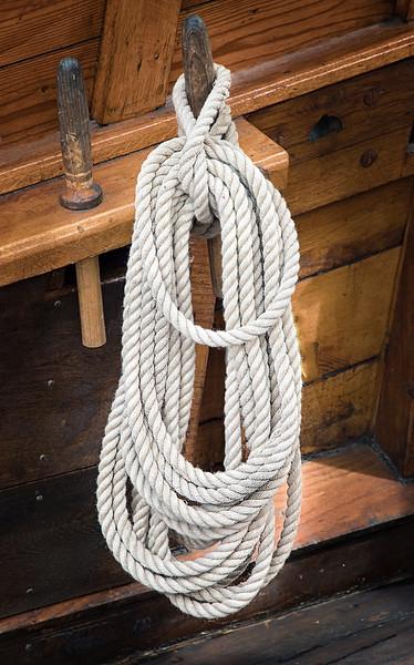 Orgnized Ropes On Vintage Sailing Vessel