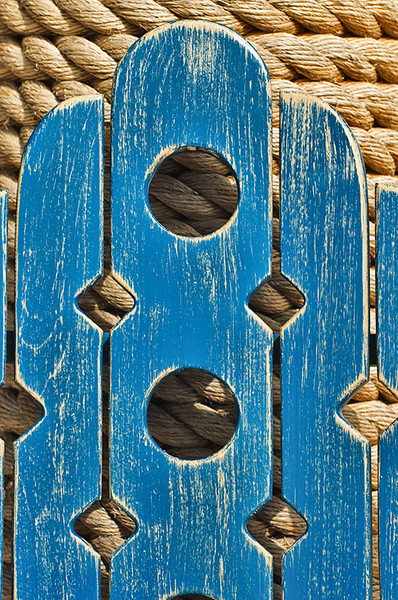 Rear of chair against heavy rope creates complimentary textures in Whitehouse, Jamaica.