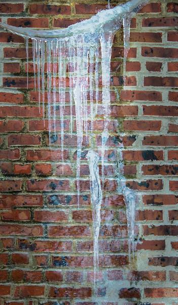Hanging Ice And Brick Wall