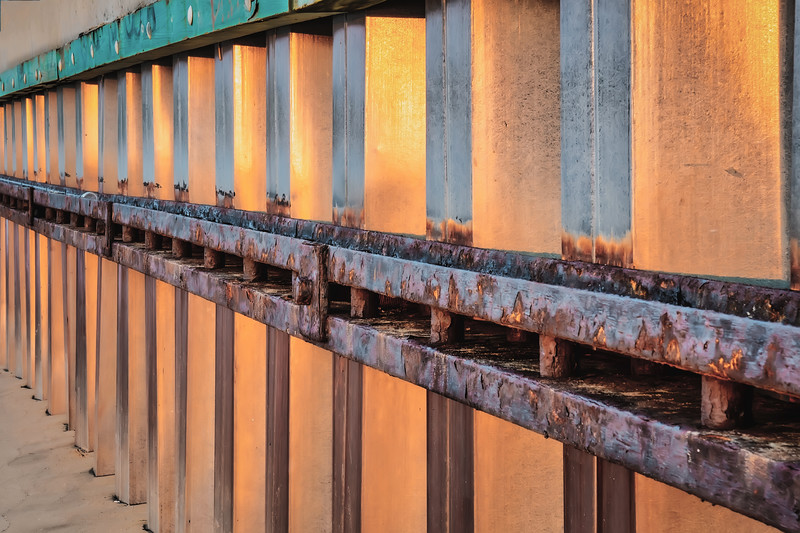 Sunset Reflection on Tide Retainer Wall