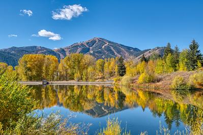 Fall Sun Valley Lake and Bald Mountain