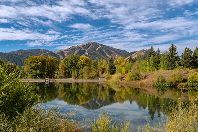Bald Mountain and Sun Valley Lake in Early Fall