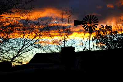 Santa Fe Windmill Silhouette