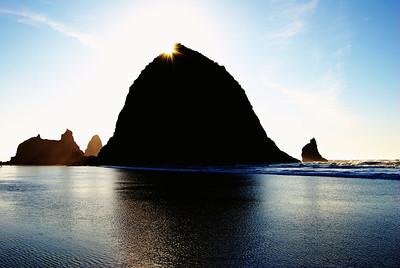 Haystack Rock with Sun Star