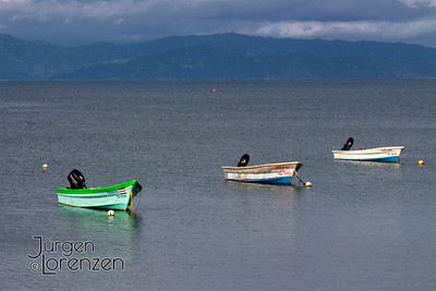 Puerto Jimenez Boats at Low Tide with Mountain