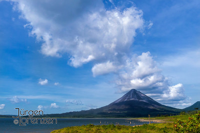 Mt. Arenal Volcano with Clouds