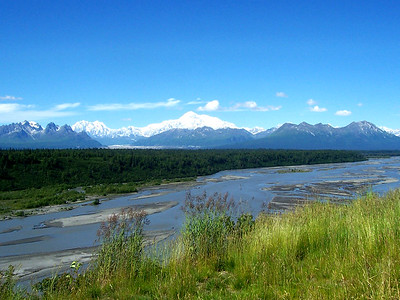 Chulitna River with Denali as Backdrop