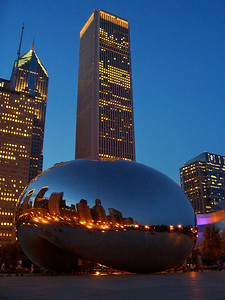 Chicago's Cloud Gate at Dusk with City Lights