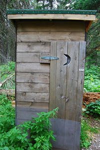 Many Glacier Outhouse with Moon