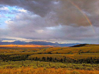 Rainbow & Beauty at Sunset, Madison Valley Overlook, Montana