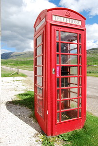 Red Phone Booth along the A-894, Scottish Highlands