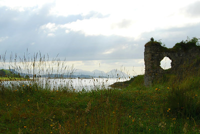 The Distant Cuillin Hills as seen from Strome Castle Ruins