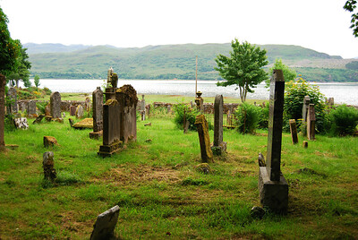 Old Lochcarron Burial Ground with view of Loch Carron
