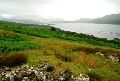 Stromenach Crofting Village Ruins with views of Loch Carron and Slumbay Beyond
