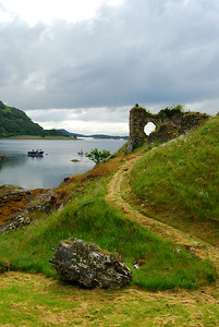 Ruins Strome Castle along Loch Carron